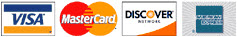 We accept VISA, MasterCard, American Express, and Discover Cards